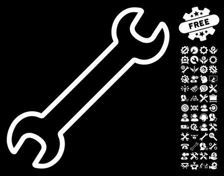 Contour Wrench pictograph with bonus options pictograms. Vector illustration style is flat iconic white symbols on black background.