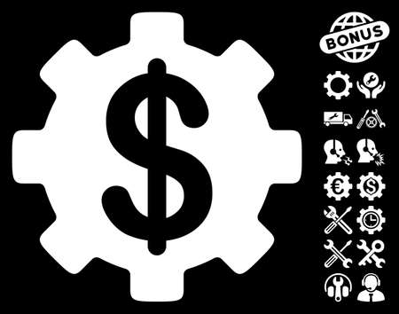 clip art cost: Development Cost pictograph with bonus configuration clip art. Vector illustration style is flat iconic white symbols on black background.