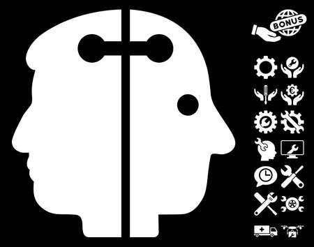 plugin: Dual Head Connection pictograph with bonus settings images. Vector illustration style is flat iconic white symbols on black background. Illustration