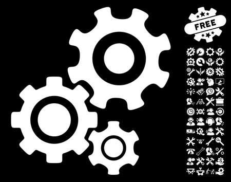 Gear Mechanism pictograph with bonus configuration symbols. Vector illustration style is flat iconic white symbols on black background.