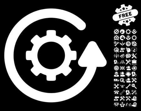 Gearwheel Rotation Direction pictograph with bonus setup tools images. Vector illustration style is flat iconic white symbols on black background.