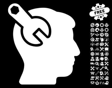 neurology: Head Neurology Wrench icon with bonus settings symbols. Vector illustration style is flat iconic white symbols on black background.