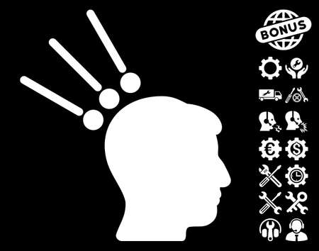 plugin: Head Test Connectors icon with bonus service pictograms. Vector illustration style is flat iconic white symbols on black background.