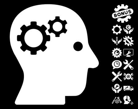 robo: Intellect Gears pictograph with bonus tools pictures. Vector illustration style is flat iconic white symbols on black background. Illustration