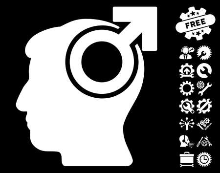 potency: Intellect Potency pictograph with bonus tools pictures. Vector illustration style is flat iconic white symbols on black background. Illustration