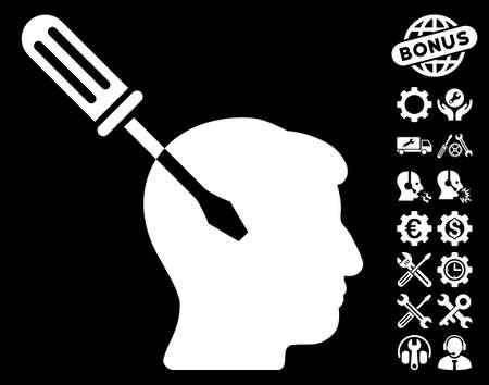 Intellect Screwdriver Tuning icon with bonus setup tools pictograms. Vector illustration style is flat iconic white symbols on black background. Illustration