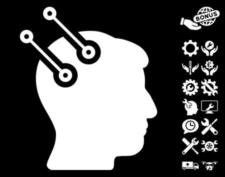 Neural Interface Connectors pictograph with bonus setup tools pictures. Vector illustration style is flat iconic white symbols on black background.