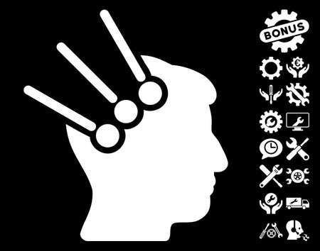 cranial: Neural Interface Connectors icon with bonus tools graphic icons. Vector illustration style is flat iconic white symbols on black background.