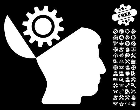sculp: Open Head Gear pictograph with bonus configuration pictograph collection. Vector illustration style is flat iconic white symbols on black background.