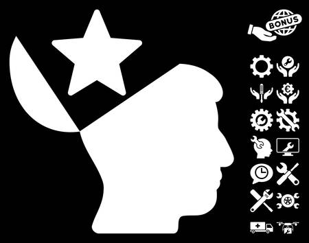sculp: Open Head Star pictograph with bonus tools symbols. Vector illustration style is flat iconic white symbols on black background. Illustration