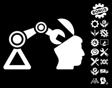 manipulator: Open Head Surgery Manipulator pictograph with bonus setup tools pictograph collection. Vector illustration style is flat iconic white symbols on black background.