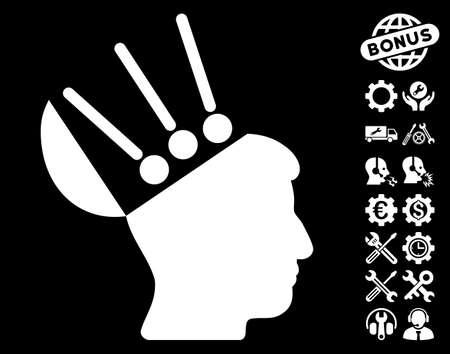 cerebra: Open Mind Interface pictograph with bonus service images. Vector illustration style is flat iconic white symbols on black background. Illustration
