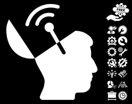 Open Mind Radio Interface icon with bonus settings design elements. Vector illustration style is flat iconic white symbols on black background.