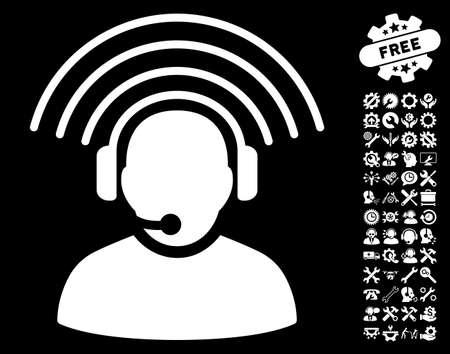 setup operator: Operator Radio Signal pictograph with bonus setup tools design elements. Vector illustration style is flat iconic white symbols on black background.