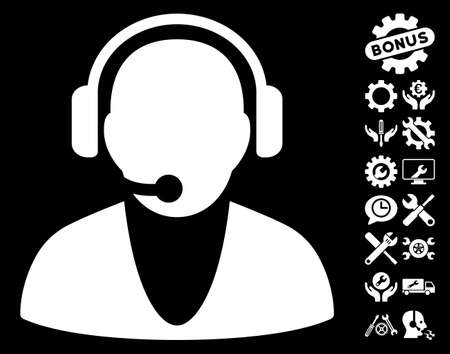 Operator Icon With Bonus Setup Tools Design Elements. Vector Illustration  Style Is Flat Iconic White