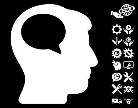 hominid: Person Thinking icon with bonus service images. Vector illustration style is flat iconic white symbols on black background. Illustration