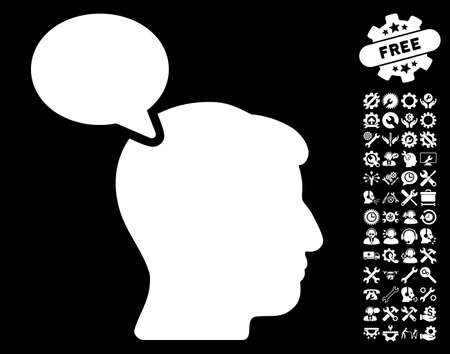 hominid: Person Opinion pictograph with bonus settings images. Vector illustration style is flat iconic white symbols on black background.