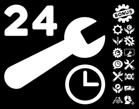 schedule system: Service Hours pictograph with bonus setup tools pictograms. Vector illustration style is flat iconic white symbols on black background.
