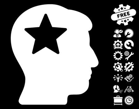 Star Head pictograph with bonus tools pictures. Vector illustration style is flat iconic white symbols on black background.