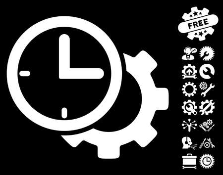 schedule system: Time Setup Gear pictograph with bonus settings pictures. Vector illustration style is flat iconic white symbols on black background. Illustration
