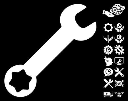 config: Wrench pictograph with bonus configuration pictograms. Vector illustration style is flat iconic white symbols on black background.