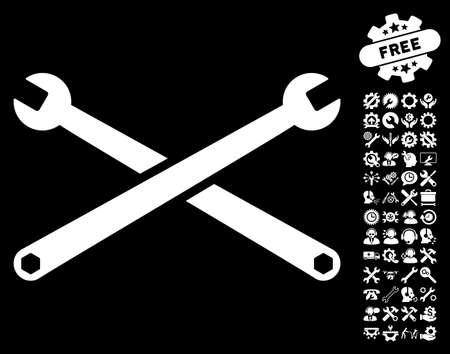 Wrenches icon with bonus settings pictures. Vector illustration style is flat iconic white symbols on black background. Illustration