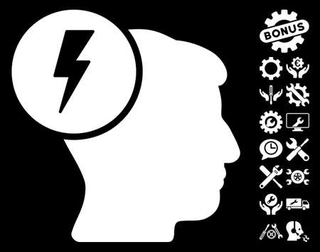 ruch: Brain Electricity pictograph with bonus configuration icon set. Glyph illustration style is flat iconic white symbols on black background.