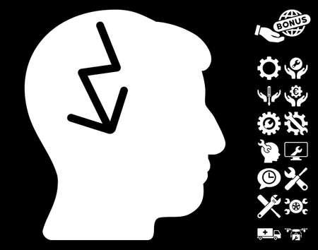 ruch: Brain Electric Strike icon with bonus setup tools symbols. Glyph illustration style is flat iconic white symbols on black background.
