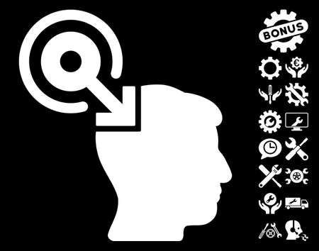 plugin: Brain Interface Plug-In pictograph with bonus settings graphic icons. Glyph illustration style is flat iconic white symbols on black background. Stock Photo