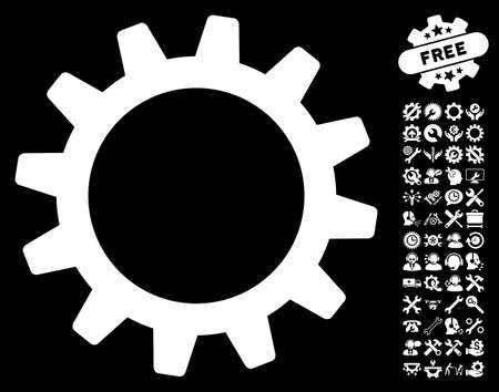 config: Cogwheel icon with bonus configuration pictograms. Glyph illustration style is flat iconic white symbols on black background.