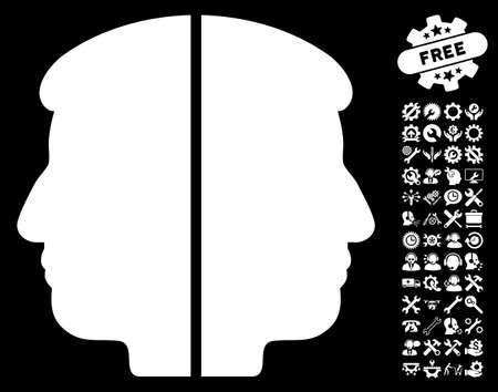 janus: Dual Face icon with bonus configuration images. Glyph illustration style is flat iconic white symbols on black background.