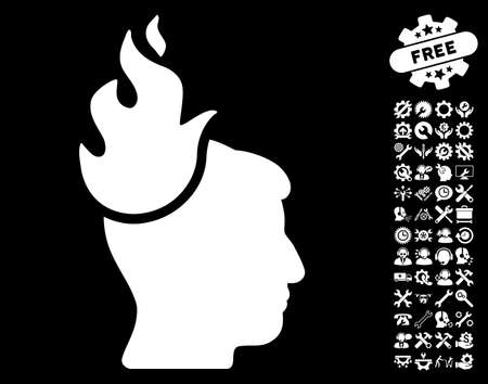 ruch: Fired Head pictograph with bonus settings symbols. Glyph illustration style is flat iconic white symbols on black background. Stock Photo