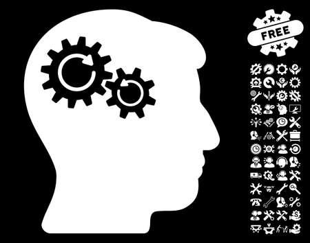 Head Wheels Rotation pictograph with bonus settings design elements. Glyph illustration style is flat iconic white symbols on black background.