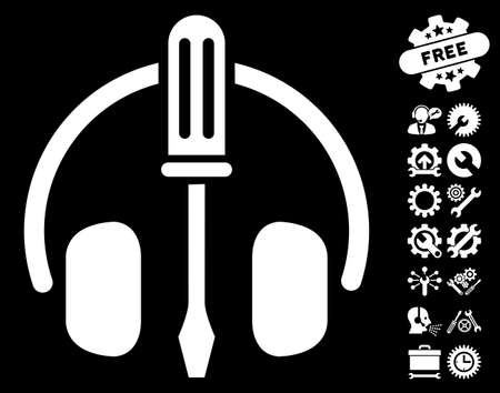 config: Headphones Tuning Screwdriver icon with bonus service images. Glyph illustration style is flat iconic white symbols on black background. Stock Photo