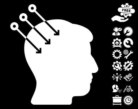 cerebra: Neural Interface Connectors icon with bonus options images. Glyph illustration style is flat iconic white symbols on black background.