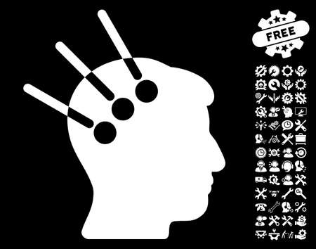 Neural Interface pictograph with bonus configuration pictograph collection. Glyph illustration style is flat iconic white symbols on black background. Stock Photo