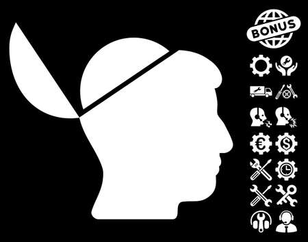 sculp: Open Brain pictograph with bonus tools clip art. Glyph illustration style is flat iconic white symbols on black background. Stock Photo