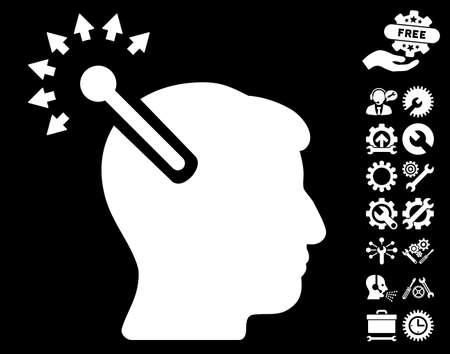 cerebra: Optical Neural Interface icon with bonus configuration images. Glyph illustration style is flat iconic white symbols on black background. Stock Photo