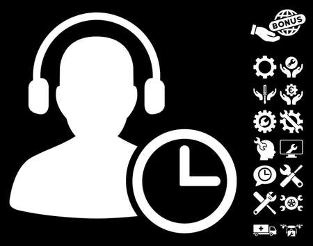 Operator Time pictograph with bonus tools icon set. Glyph illustration style is flat iconic white symbols on black background.