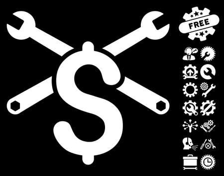Service Price icon with bonus setup tools clip art. Glyph illustration style is flat iconic white symbols on black background.