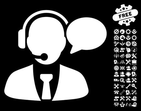 Support Manager Message pictograph with bonus settings graphic icons. Glyph illustration style is flat iconic white symbols on black background.