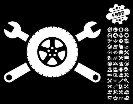 Tire Service Wrenches icon with bonus options symbols. Glyph illustration style is flat iconic white symbols on black background. Stock Photo