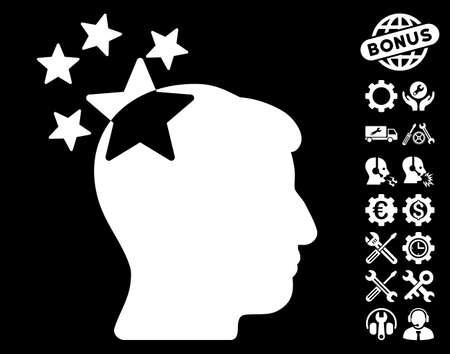 ruch: Stars Hit Head icon with bonus tools design elements. Glyph illustration style is flat iconic white symbols on black background.