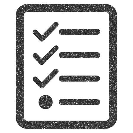 nomenclature: Checklist rubber seal stamp watermark. Icon glyph symbol with grunge design and dirty texture. Scratched gray ink sign on a white background. Stock Photo