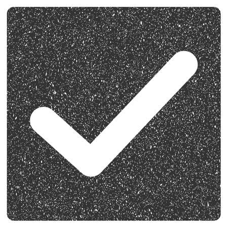 proceed: Check rubber seal stamp watermark. Icon glyph symbol with grunge design and dust texture. Scratched gray ink sticker on a white background.
