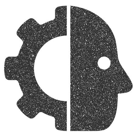 robo: Cyborg rubber seal stamp watermark. Icon glyph symbol with grunge design and dust texture. Scratched gray ink emblem on a white background.