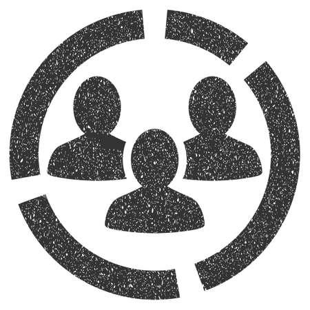 demografia: Demografía de caucho Diagrama marca de agua sello sello. glifo símbolo icono con el diseño y la textura del grunge impuro. Rayado pegatina tinta gris sobre un fondo blanco. Foto de archivo