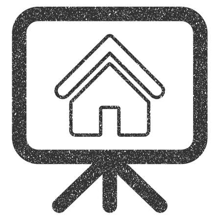 presentaion: House Project Presentation Screen rubber seal stamp watermark. Icon glyph symbol with grunge design and corrosion texture. Scratched gray ink sign on a white background.