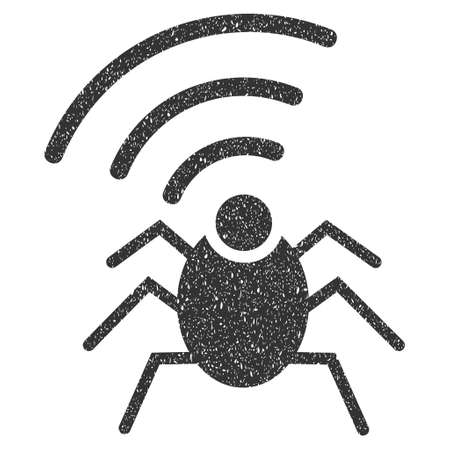Radio Spy Bug rubber seal stamp watermark. Icon glyph symbol with grunge design and dirty texture. Scratched gray ink sticker on a white background. Stock Photo