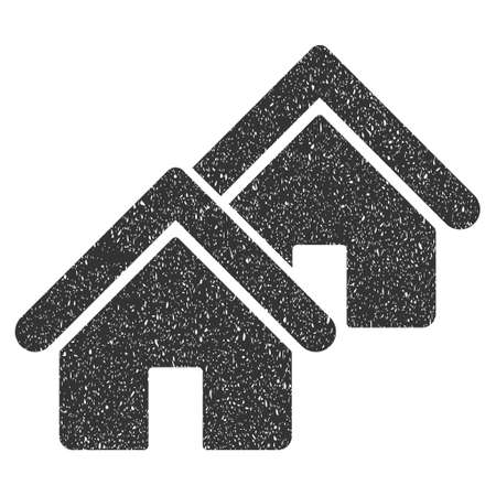 domestic garage: Realty rubber seal stamp watermark. Icon glyph symbol with grunge design and corrosion texture. Scratched gray ink emblem on a white background. Stock Photo